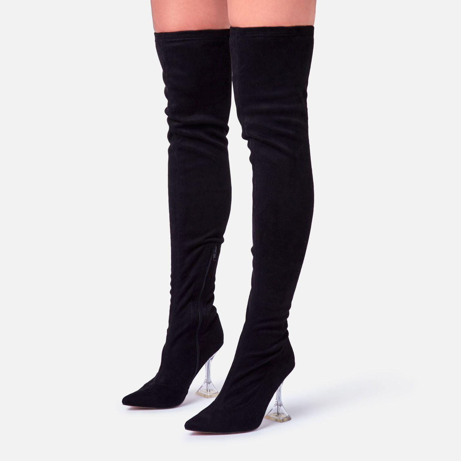 NEW LOOK SIZE 7 40 BLACK FAUX SUEDE OVER KNEE THIGH BOOTS SHOES BRAND NEW