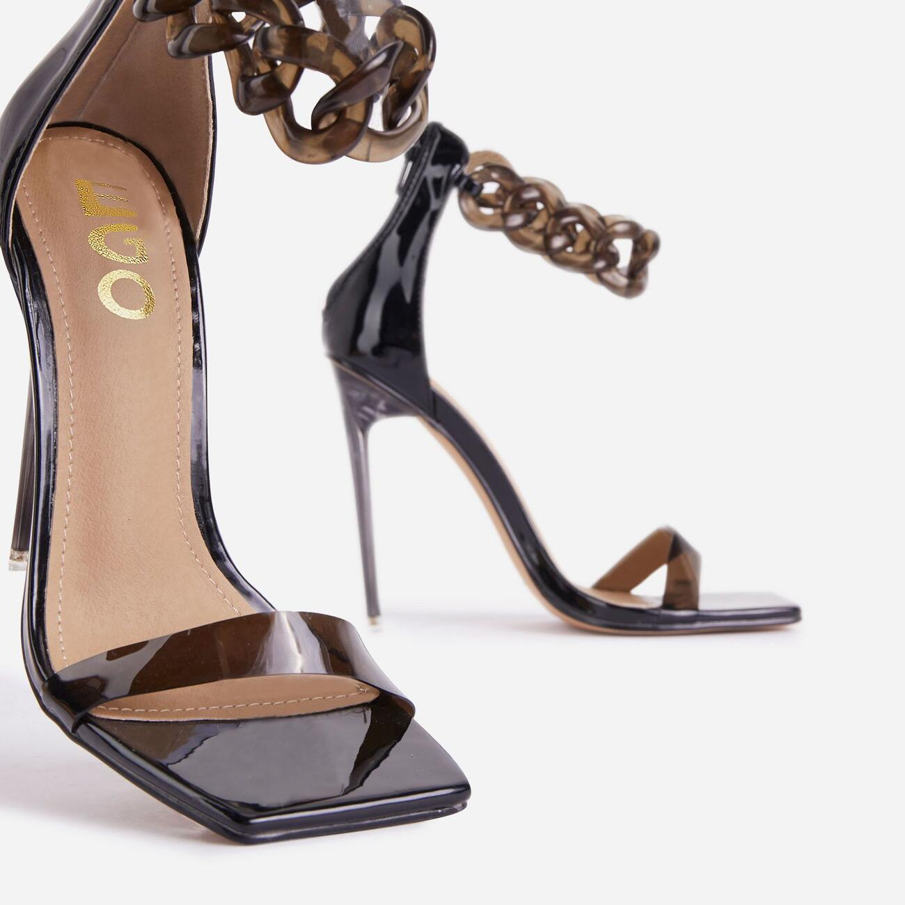 Sangria Chain Detail Square Toe Perspex Heel In Black Patent