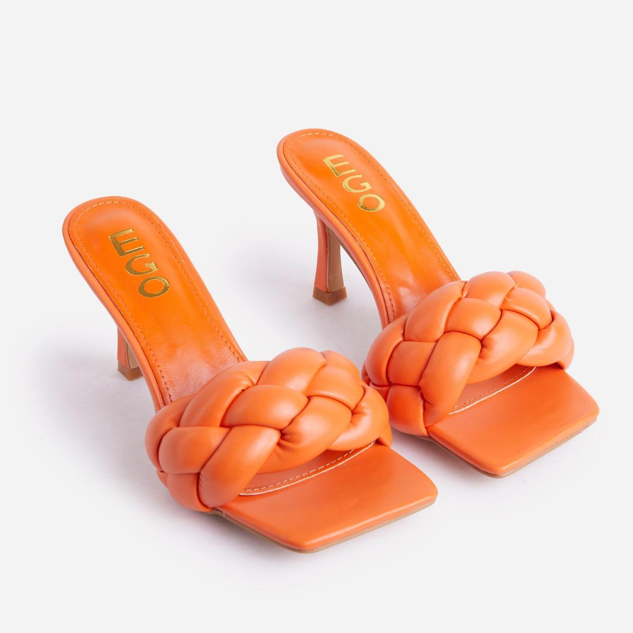 Waves Square Peep Toe Woven Kitten Heel Mule In Orange Faux Leather Image 2