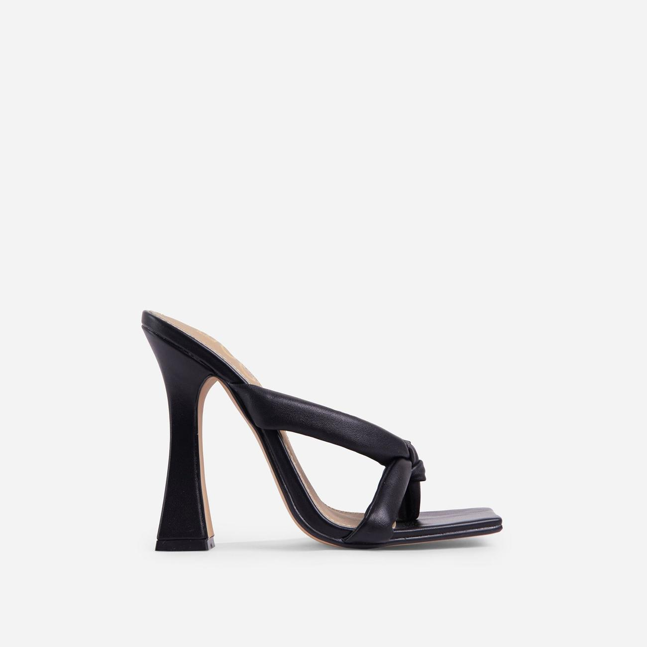 Loyal Padded Cross Strap Square Toe Heel Mule In Black Faux Leather Image 1