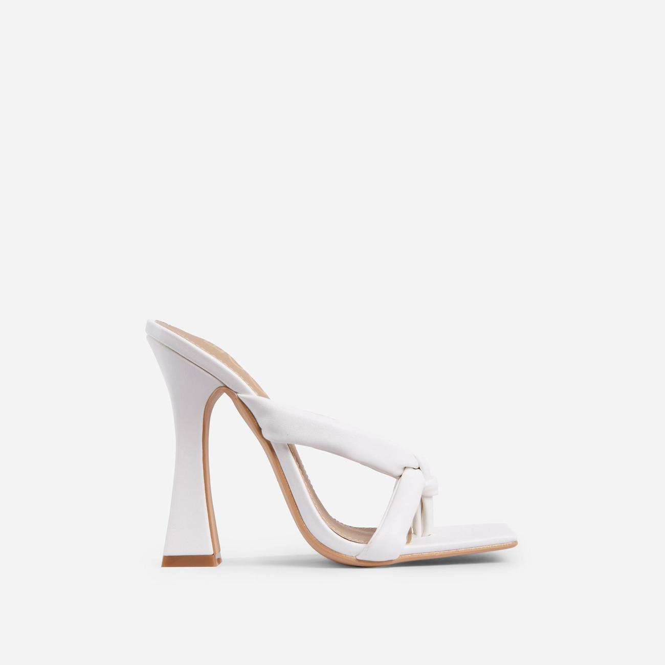 Loyal Padded Cross Strap Square Toe Heel Mule In White Faux Leather Image 3