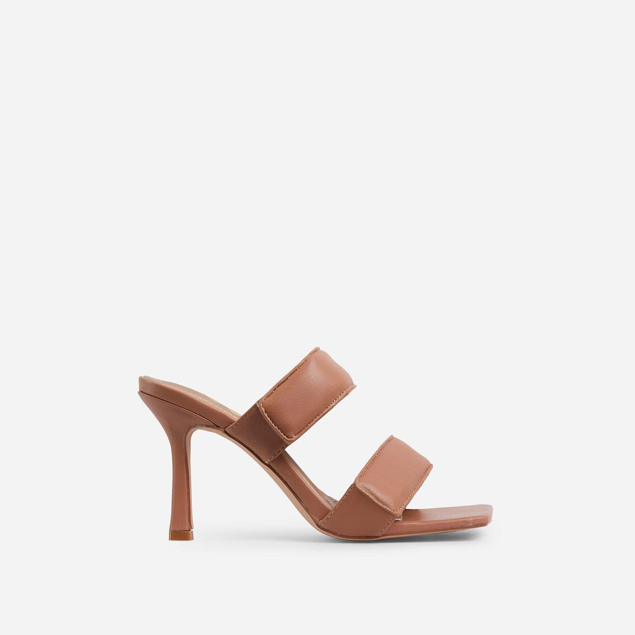 Thought-So Padded Strap Square Toe Heel Mule In Tan Brown Faux Leather Image 1
