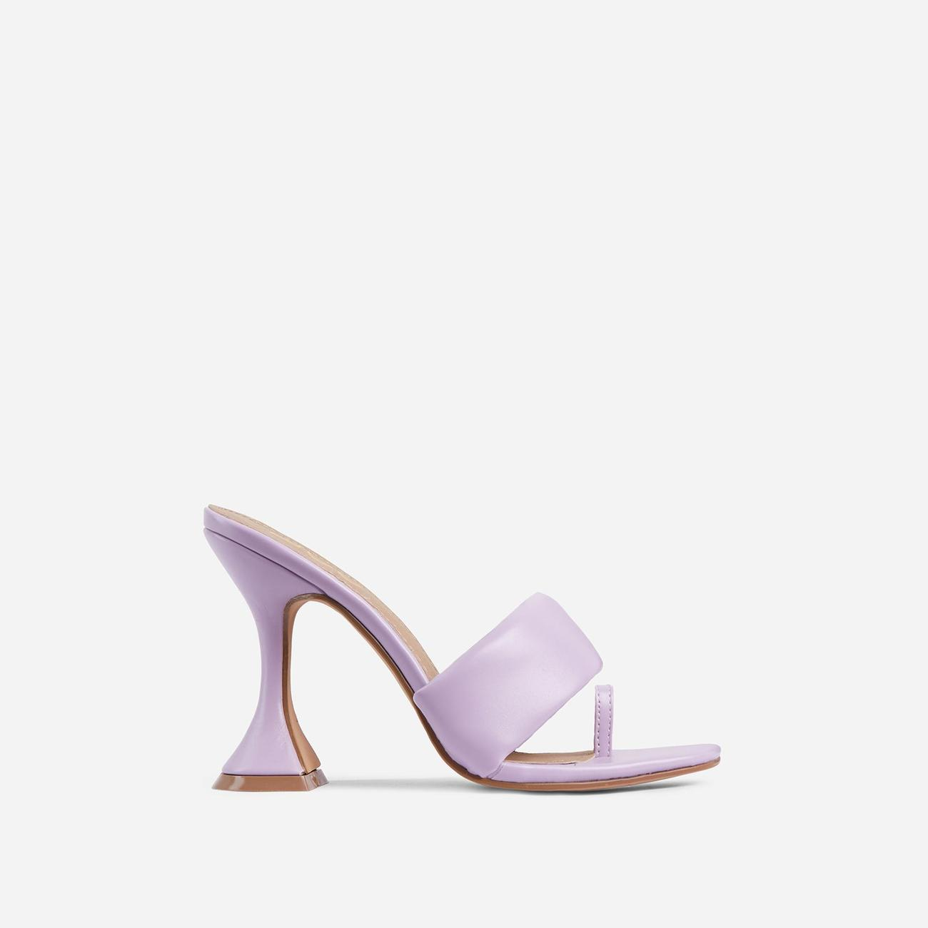 You-Wish Square Toe Padded Pyramid Heel Mule In Lilac Faux Leather Image 1