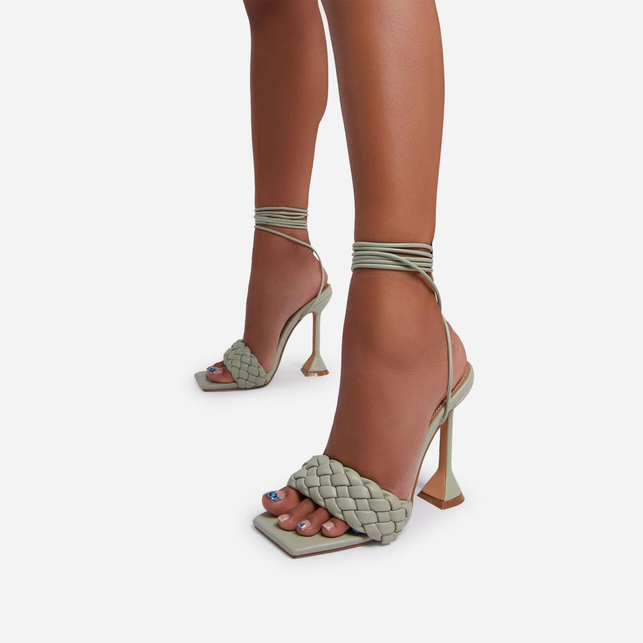 Master Lace Up Square Toe Woven Pyramid Heel In Sage Green Faux Leather Image 3