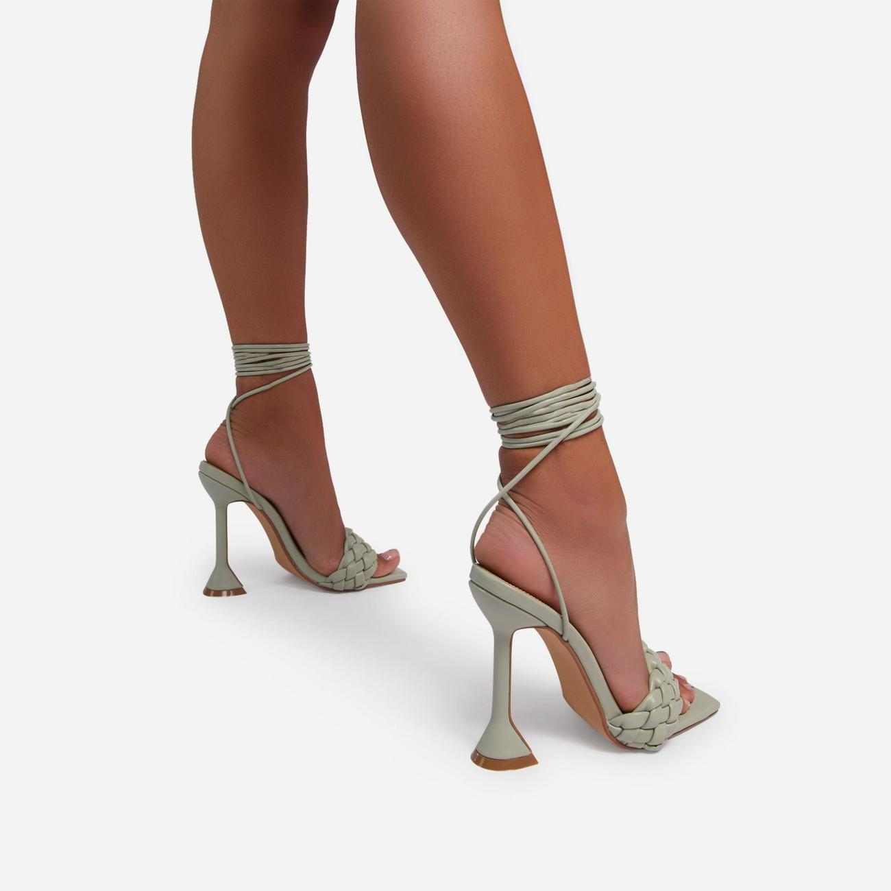 Master Lace Up Square Toe Woven Pyramid Heel In Sage Green Faux Leather Image 4