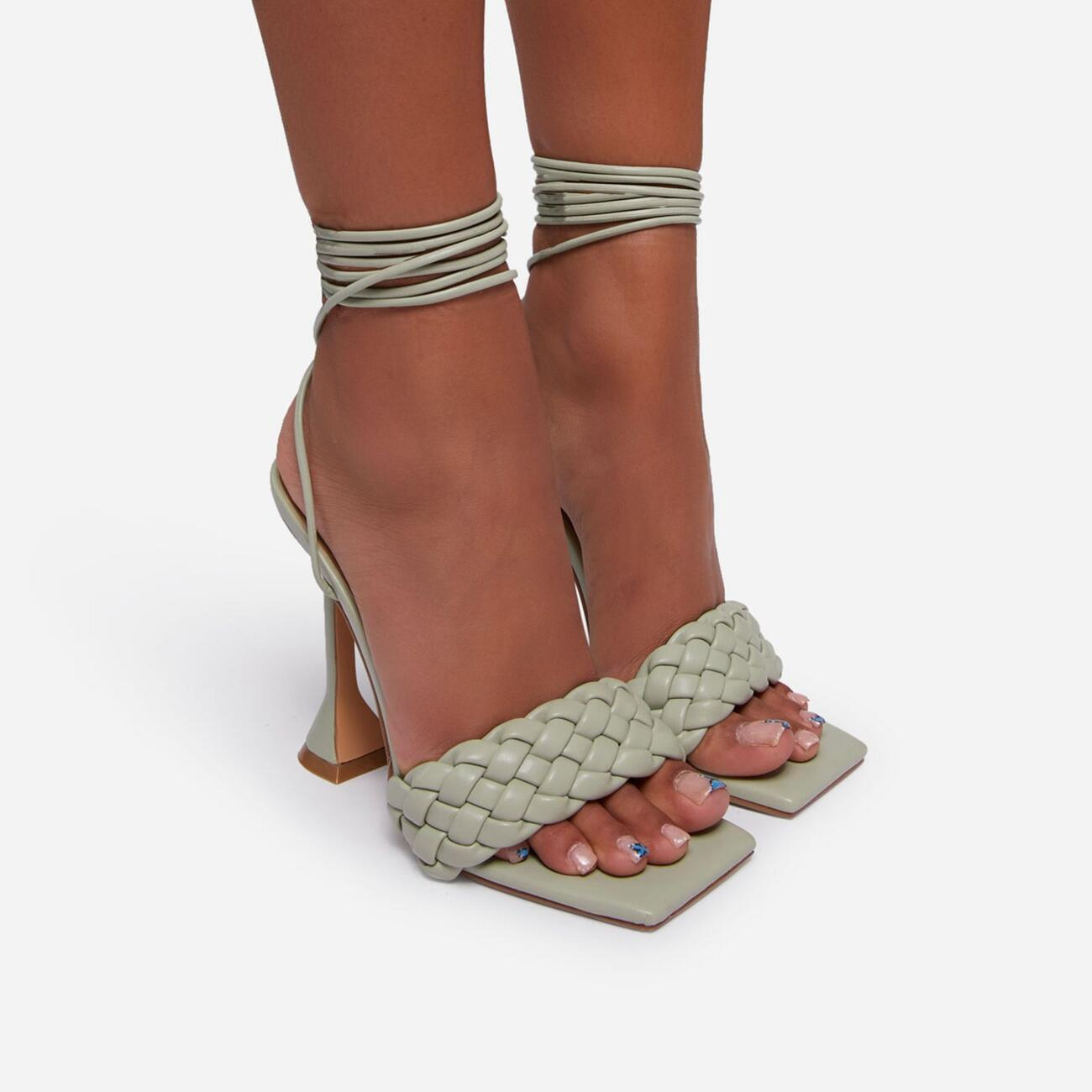 Master Lace Up Square Toe Woven Pyramid Heel In Sage Green Faux Leather Image 6