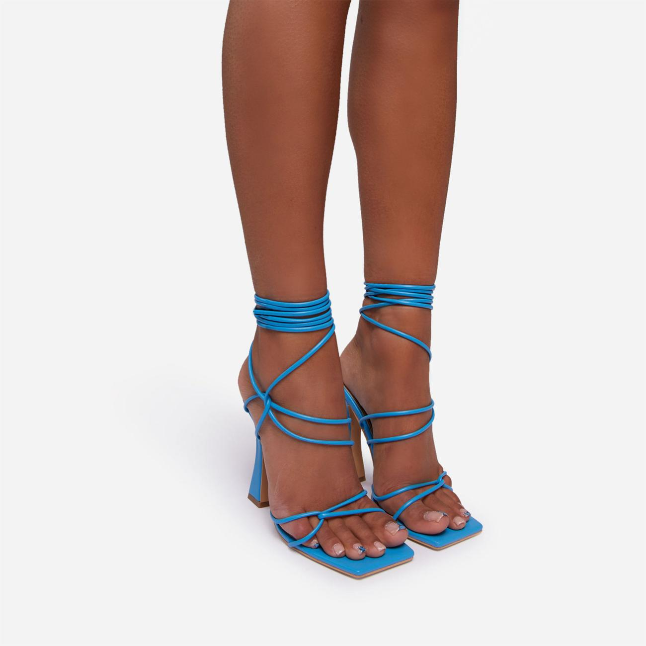 Seduce Lace Up Strappy Square Toe Curved Block Heel In Blue Faux Leather Image 3