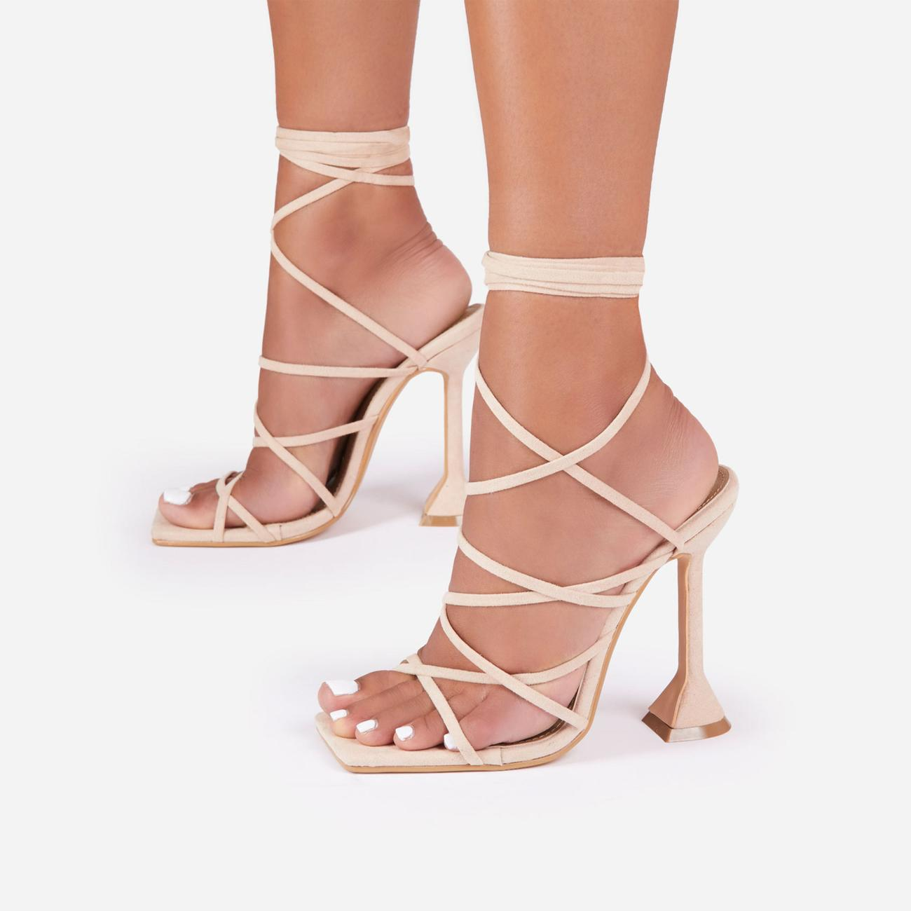 Influence Strappy Lace Up Square Toe Pyramid Heel In Nude Faux Suede Image 3
