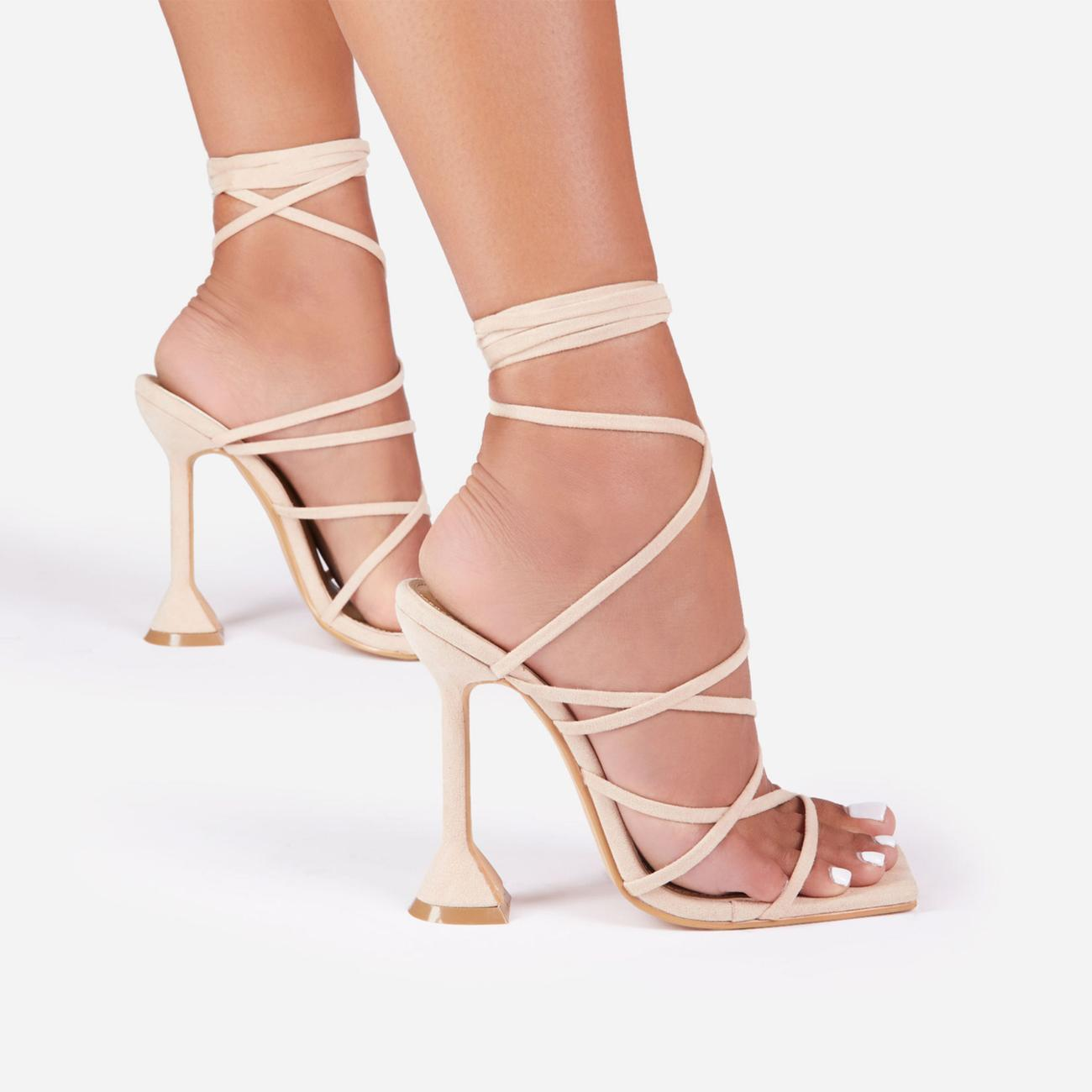 Influence Strappy Lace Up Square Toe Pyramid Heel In Nude Faux Suede Image 4