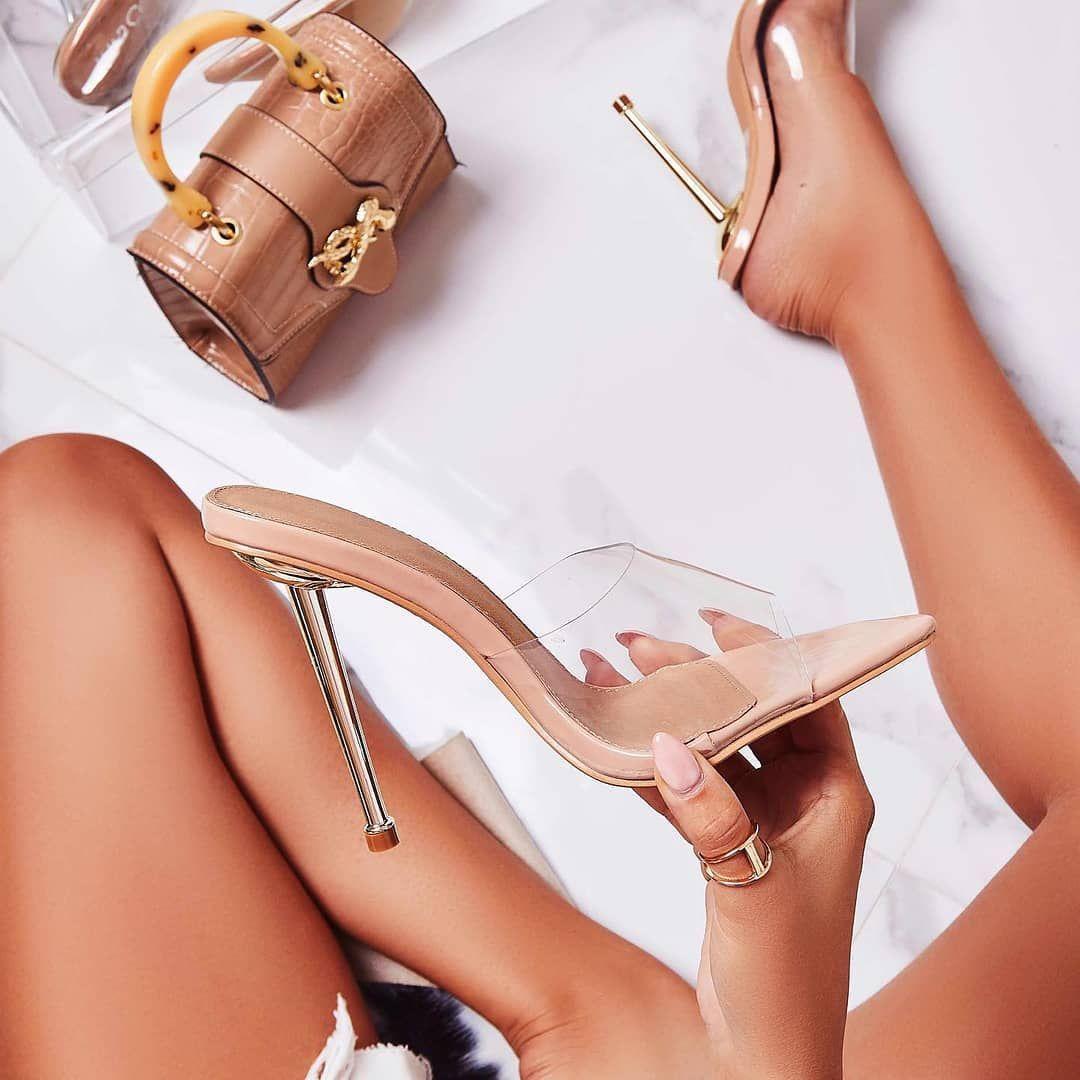 KingKing Clear Perspex Pointed Peep Toe Heel Mule In Nude Patent Image 2