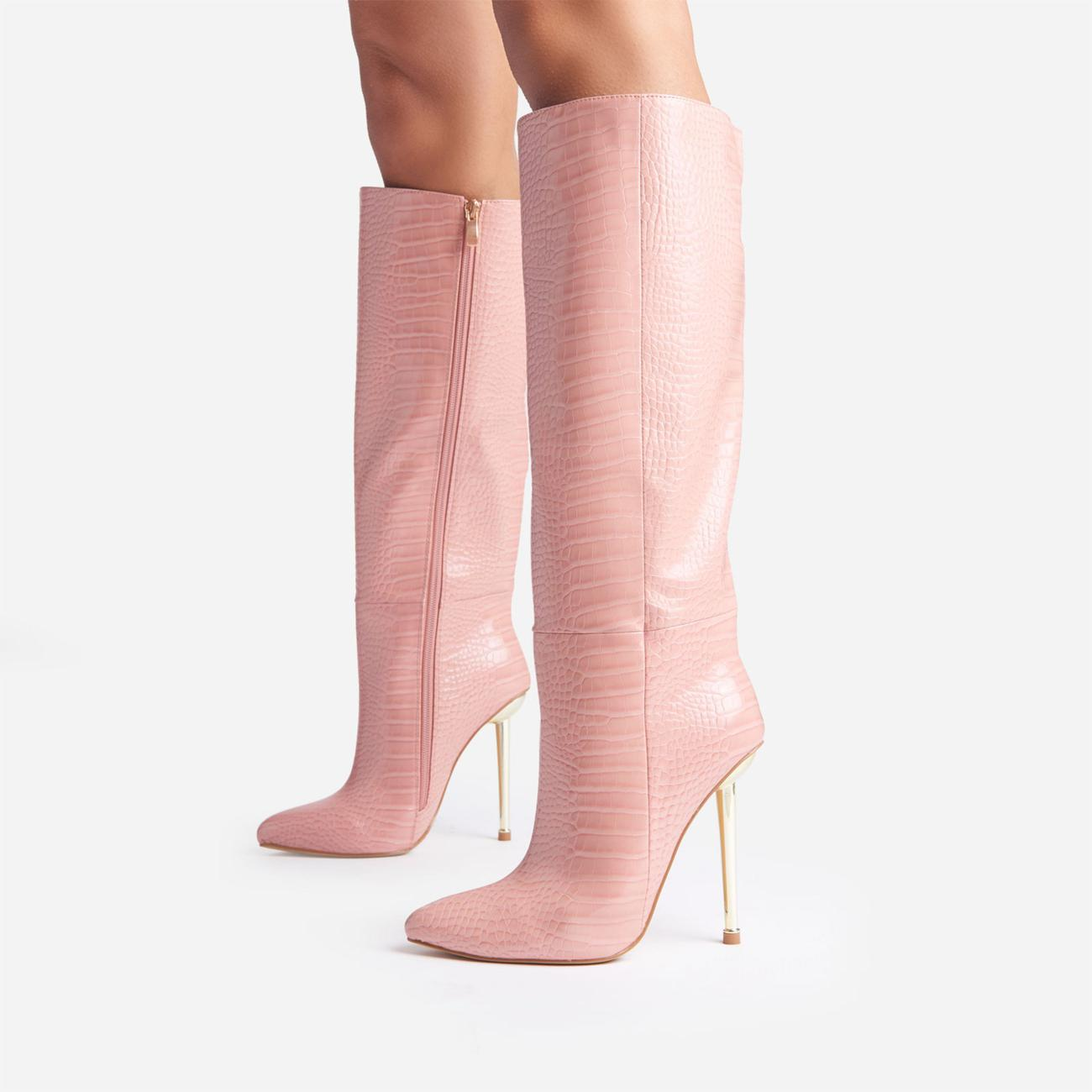 Clarity Metallic Heel Knee High Long Boots In Pink Croc Print Faux Leather Image 2