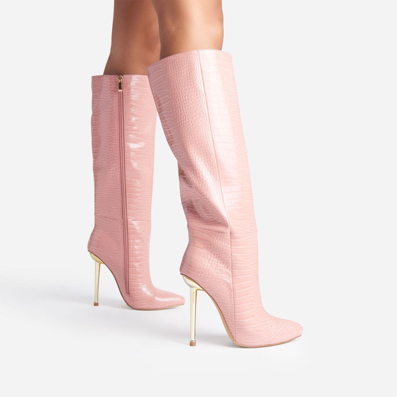 Clarity Metallic Heel Knee High Long Boots In Pink Croc Print Faux Leather Image 3