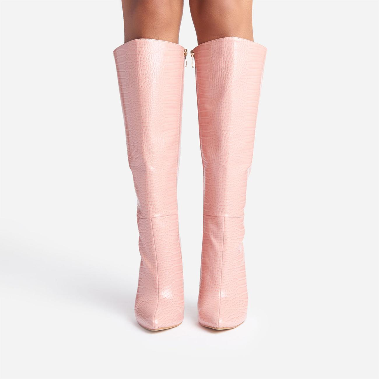 Clarity Metallic Heel Knee High Long Boots In Pink Croc Print Faux Leather Image 4