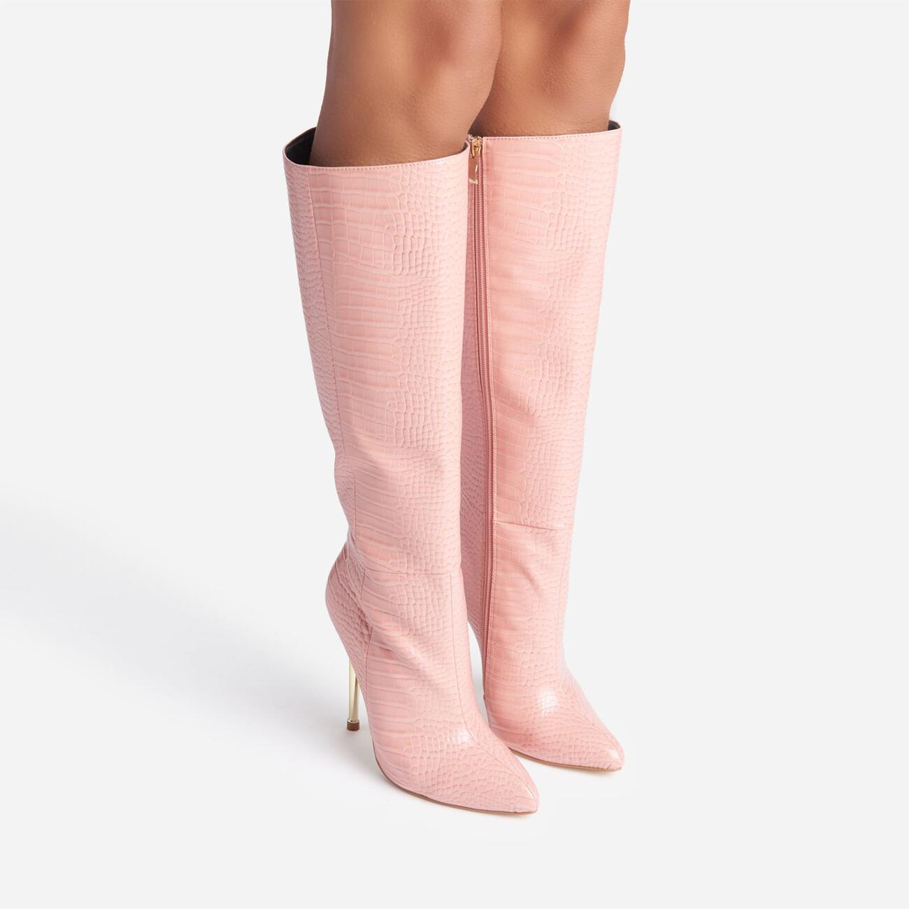 Clarity Metallic Heel Knee High Long Boots In Pink Croc Print Faux Leather Image 5