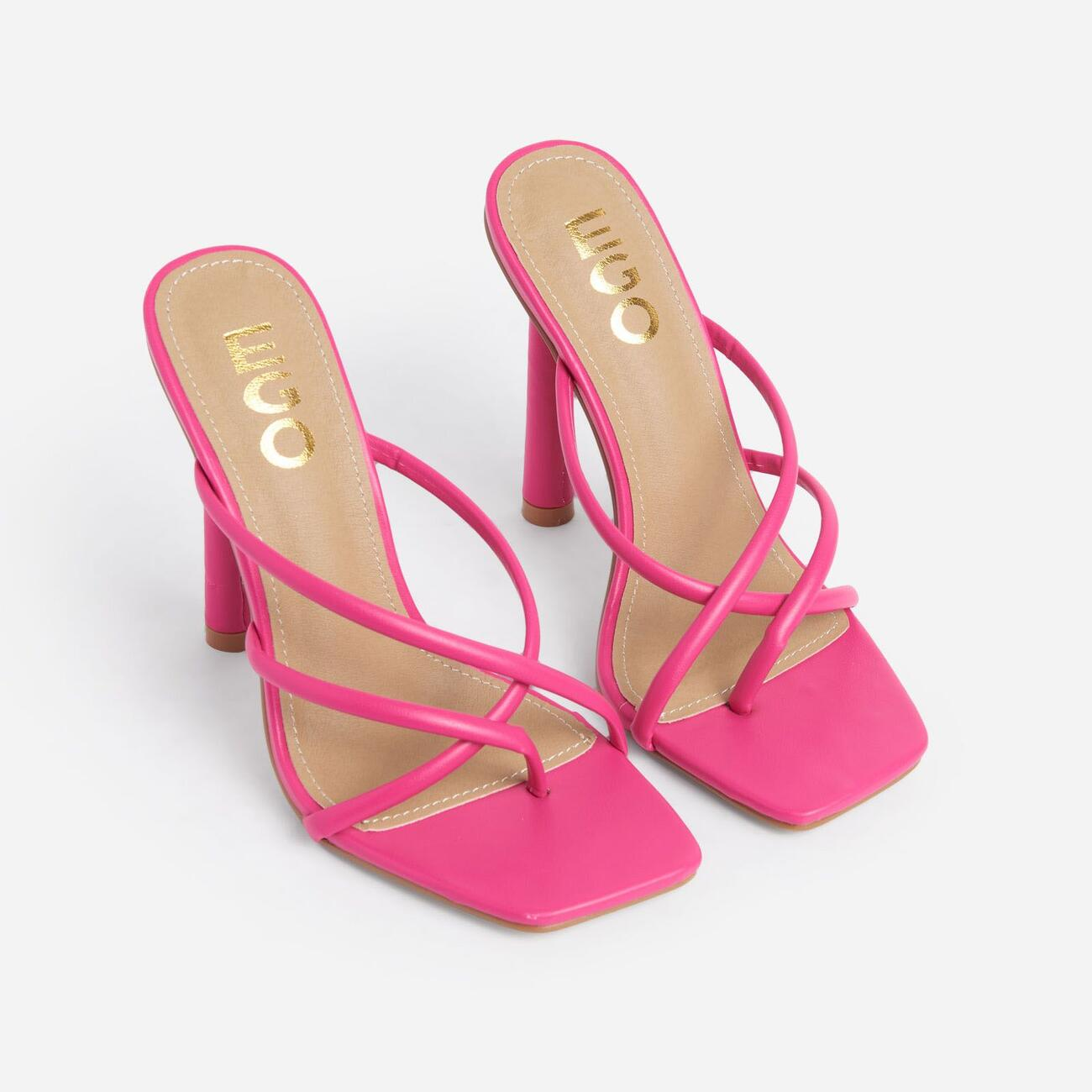 Playa Strappy Square Toe Heel Mule In Pink Faux Leather Image 2