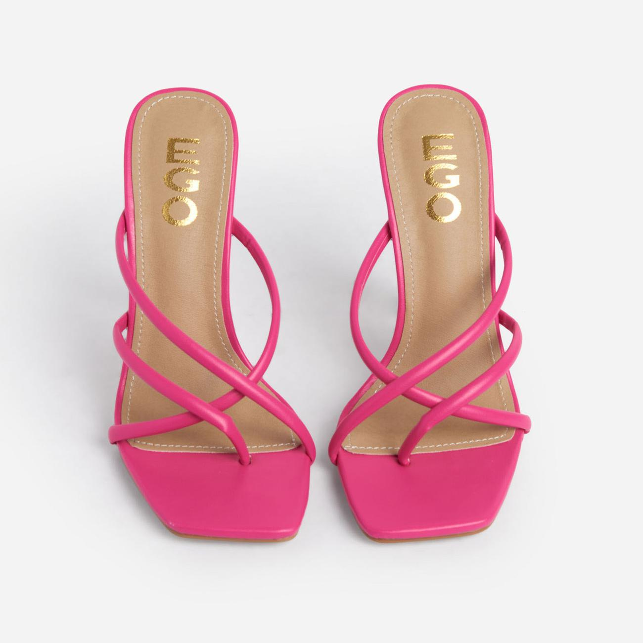 Playa Strappy Square Toe Heel Mule In Pink Faux Leather Image 4