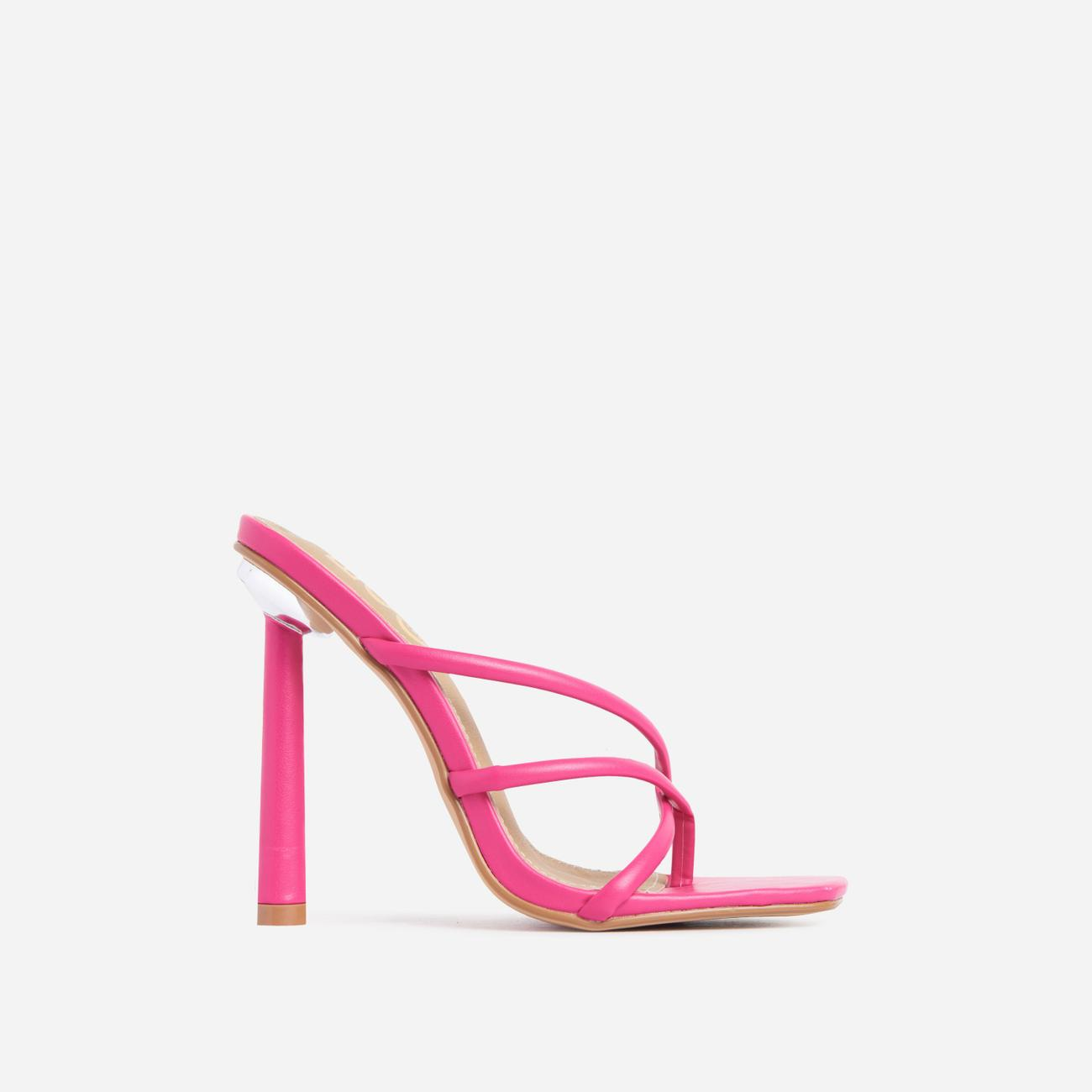 Playa Strappy Square Toe Heel Mule In Pink Faux Leather Image 1