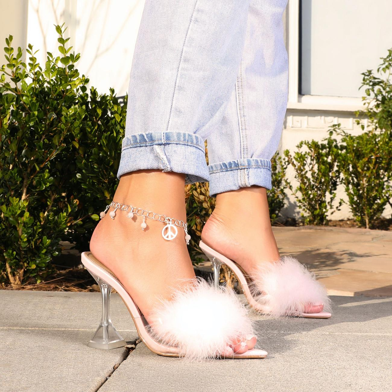 Runway Fluffy Pointed Peep Toe Clear Perspex Pyramid Heel Mule In Pink Faux Leather