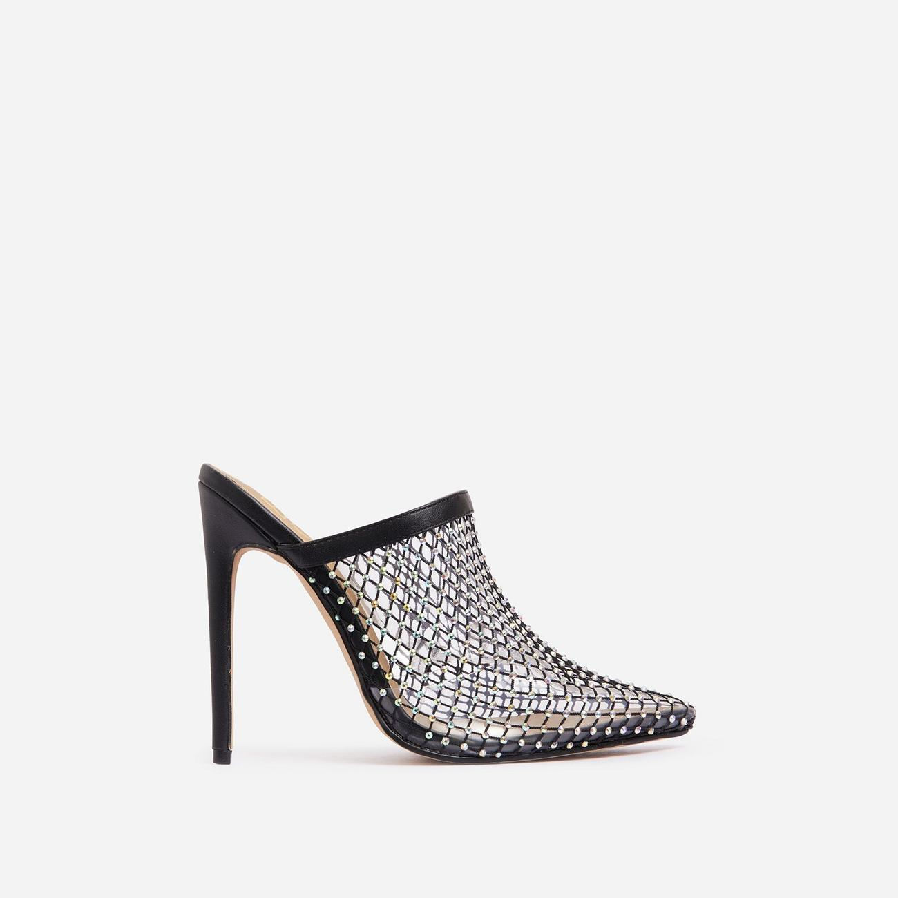 Forgiven Diamante Detail Fishnet Pointed Toe Heel Mule In Black Faux Leather Image 1