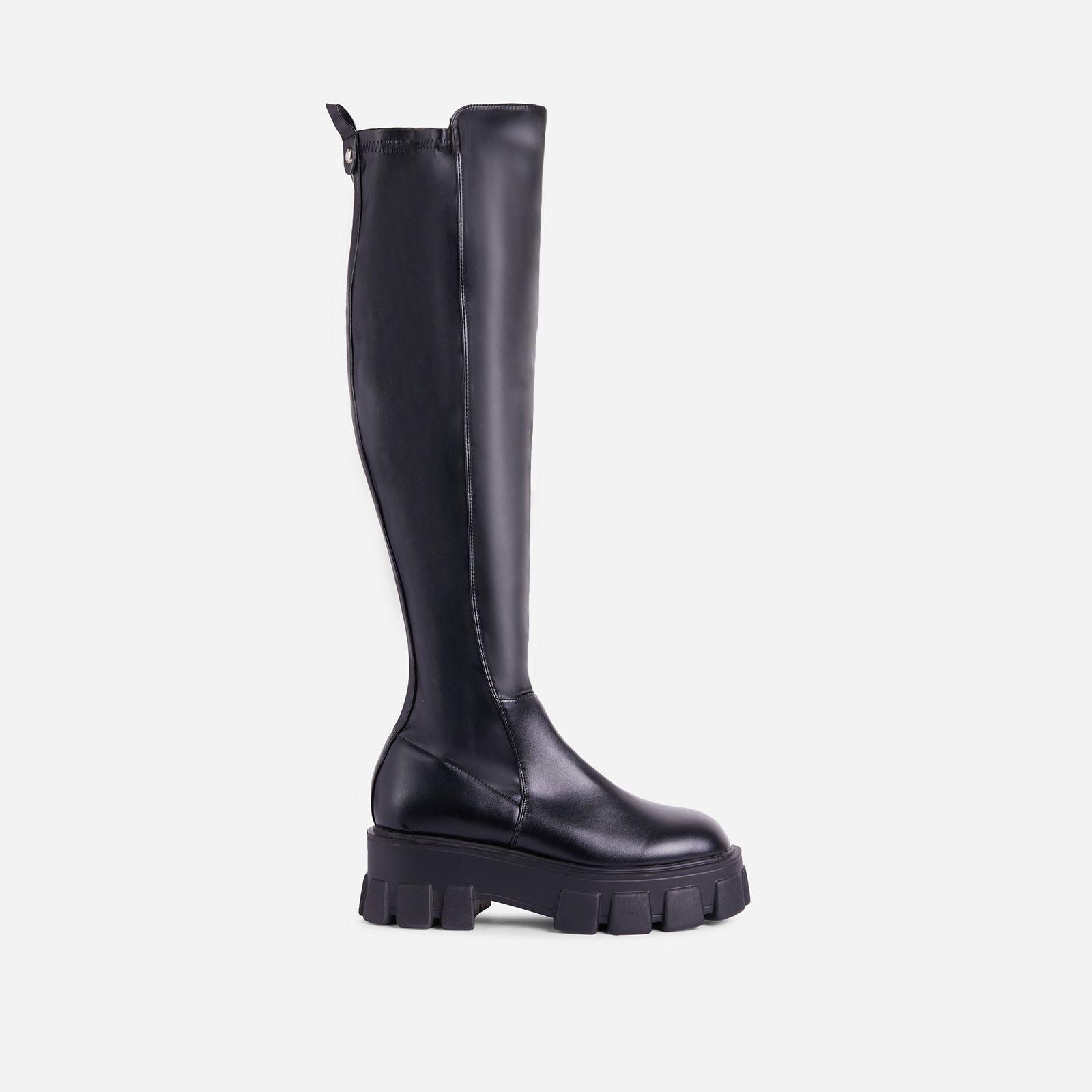 Long Biker Boot In Black Faux Leather