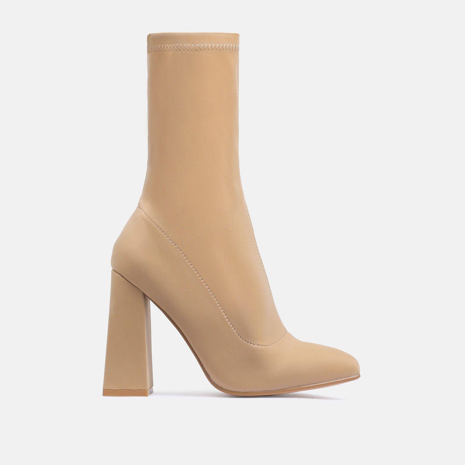 Chesta Block Heel Ankle Boot In Nude