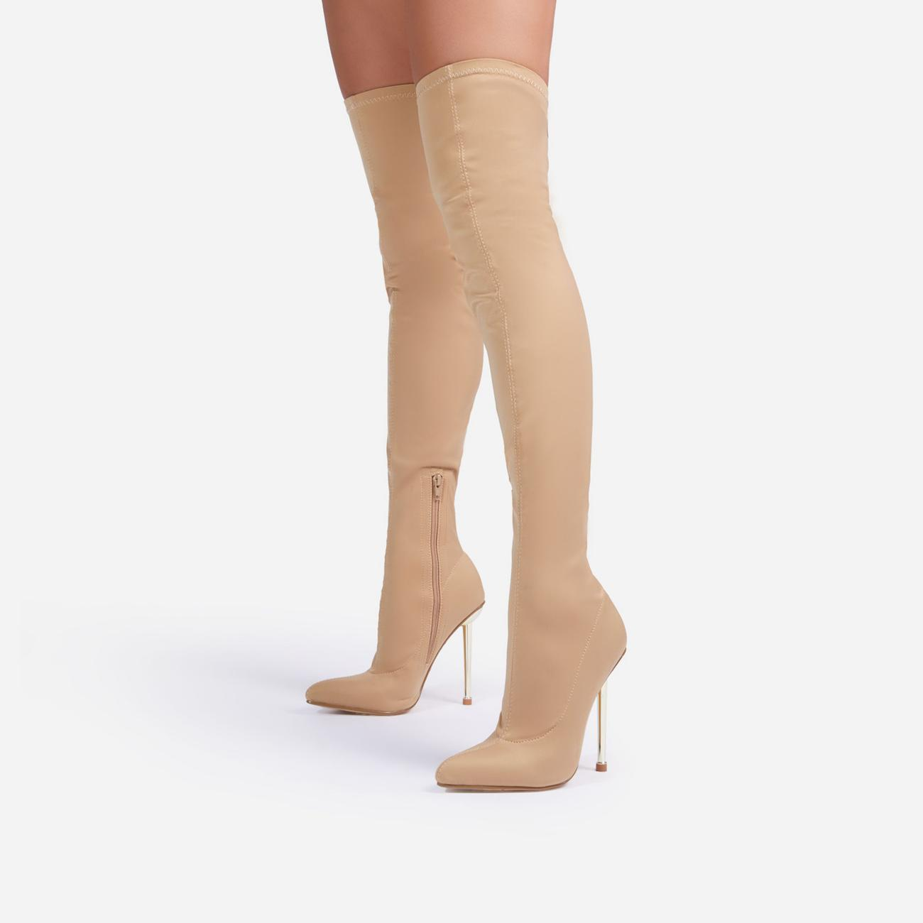 Gleam-On Pointed Toe Metallic Heel Over The Knee Thigh High Long Sock Boot In Nude Lycra