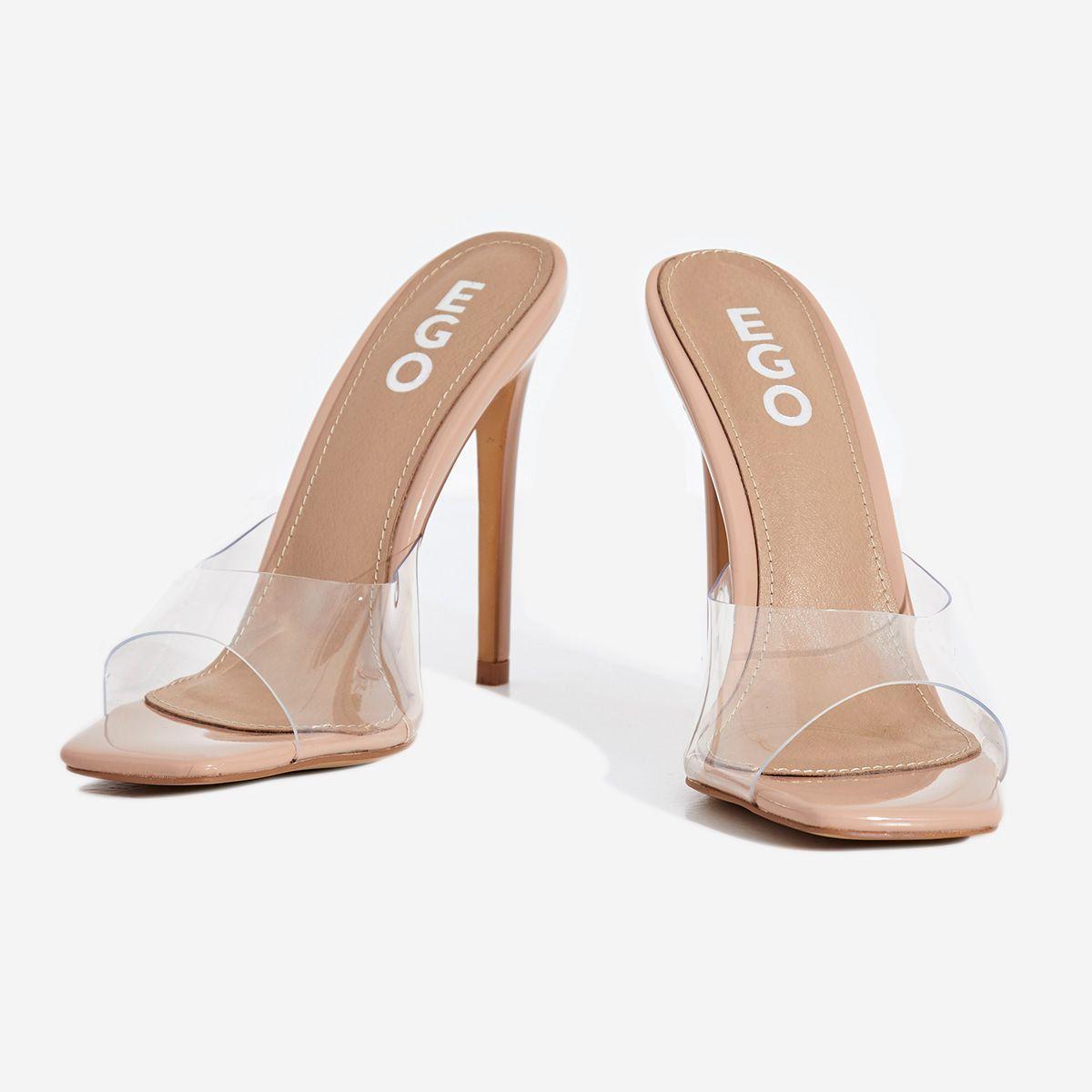 Cyan Square Toe Clear Perspex Peep Toe Heel Mule In Nude Patent Image 3