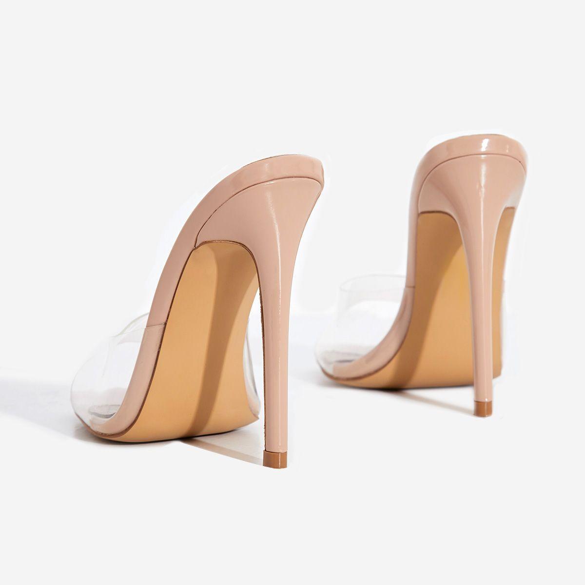 Cyan Square Toe Clear Perspex Peep Toe Heel Mule In Nude Patent Image 4