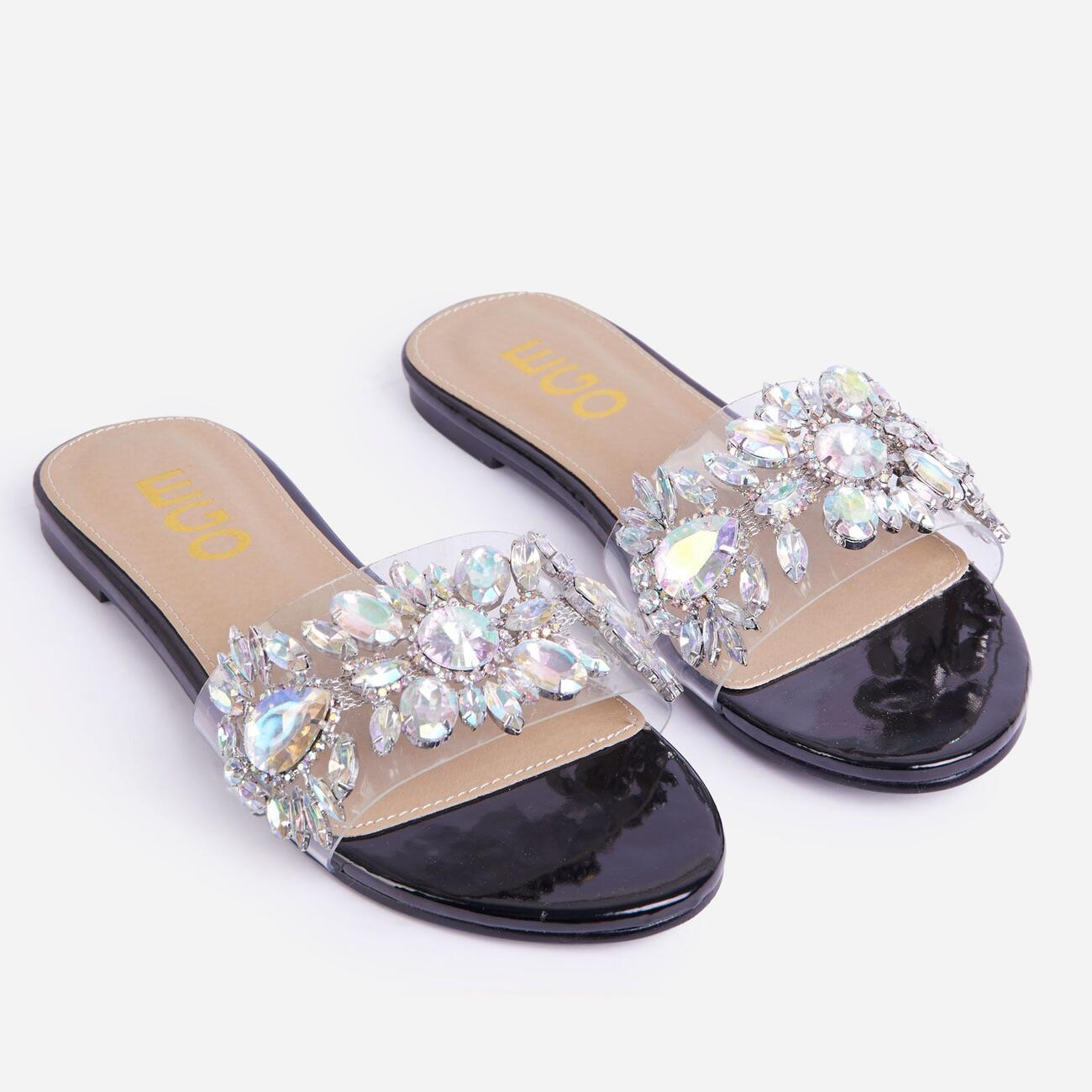 Duchess Diamante Gem Detail Perspex Flat Slider Sandal In Black Patent Image 2