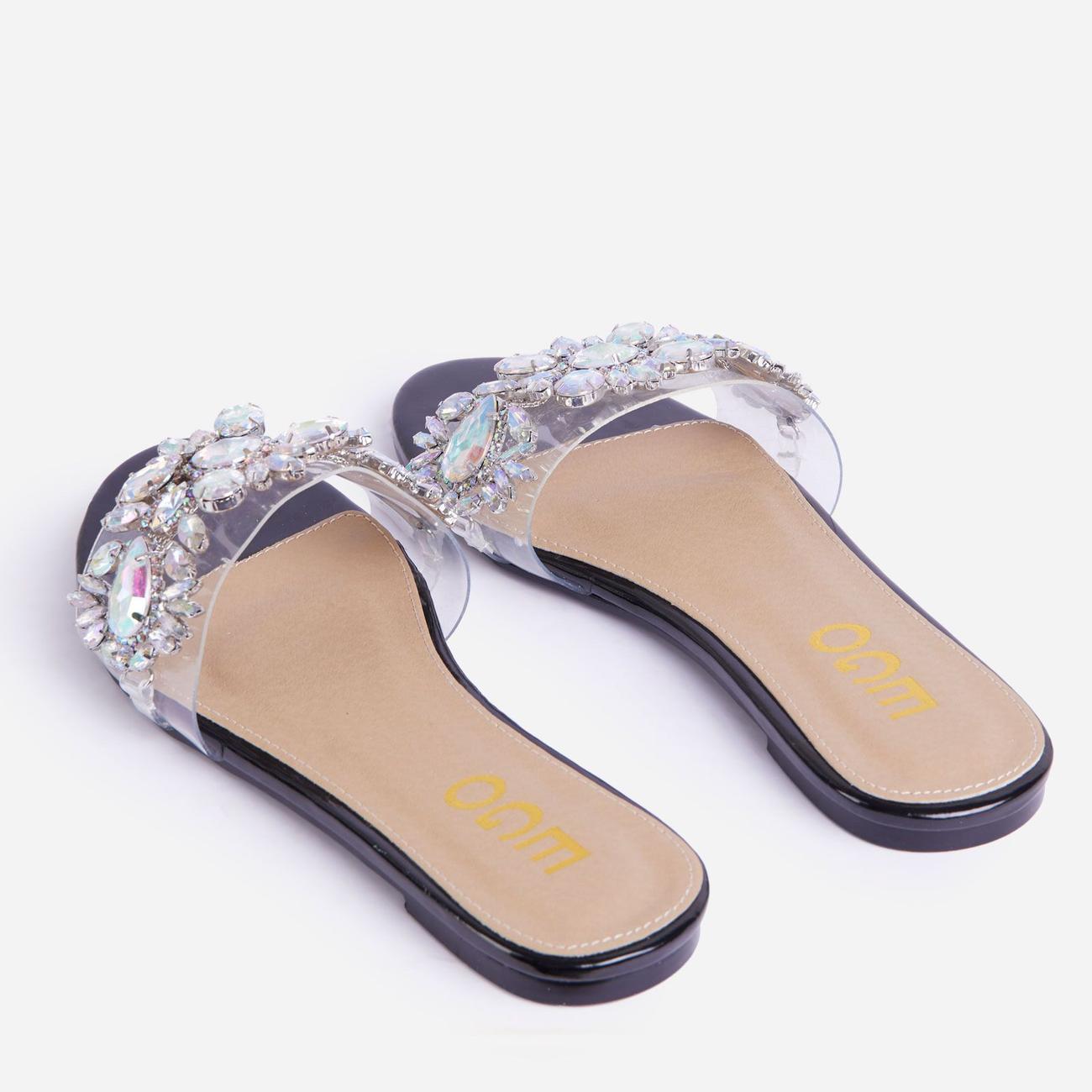 Duchess Diamante Gem Detail Perspex Flat Slider Sandal In Black Patent Image 3