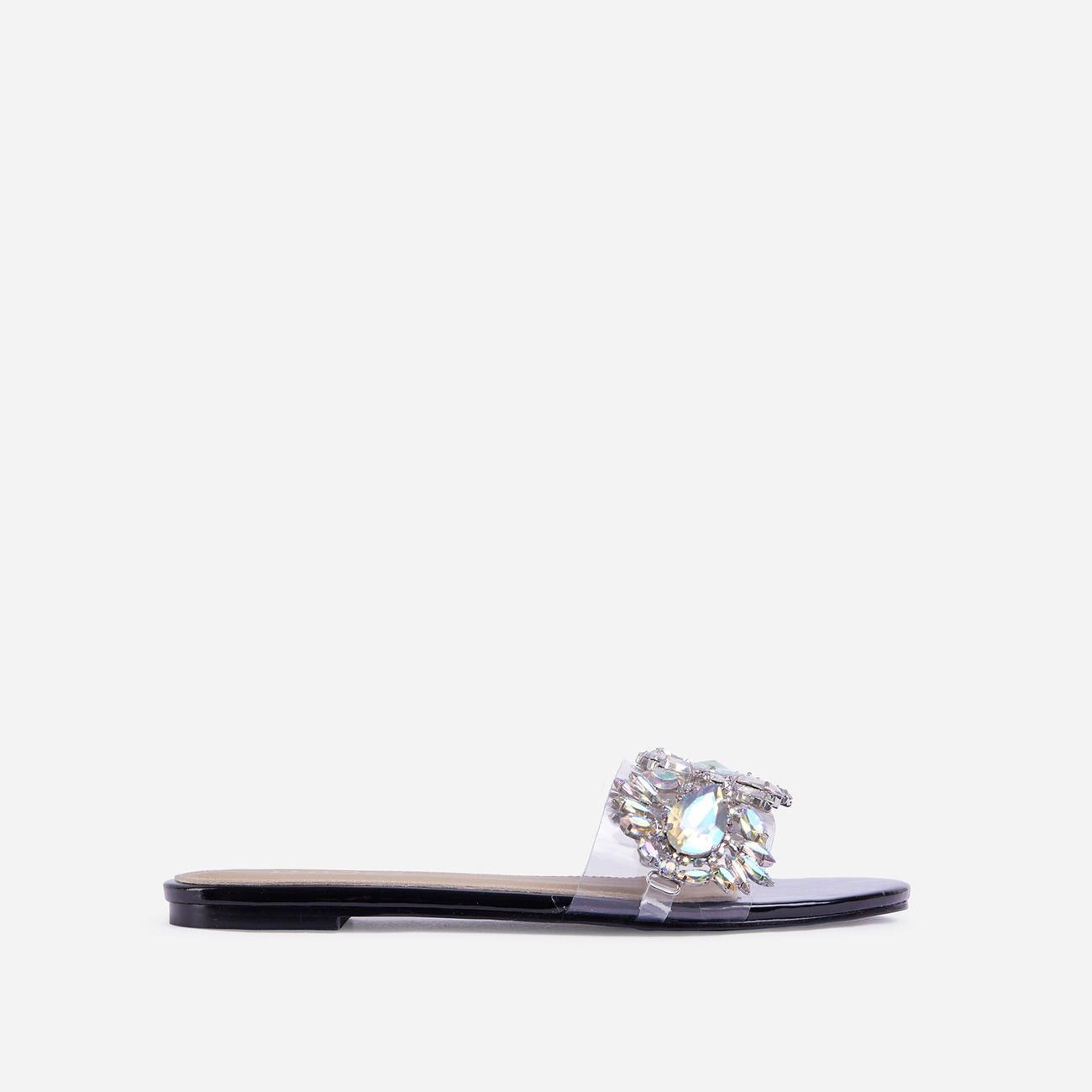 Duchess Diamante Gem Detail Perspex Flat Slider Sandal In Black Patent Image 1