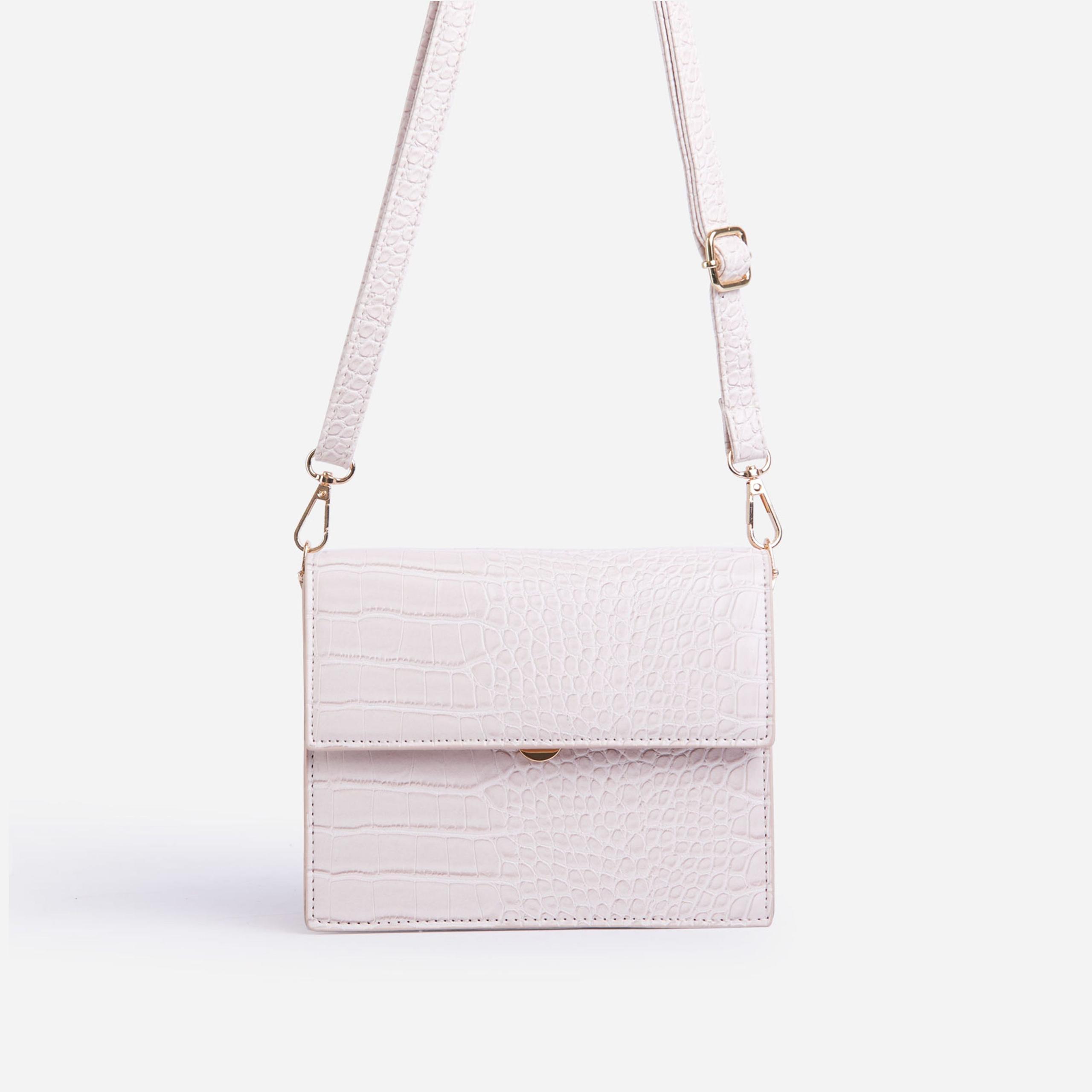 Belle Boxy Shoulder Bag In White Croc Print Patent