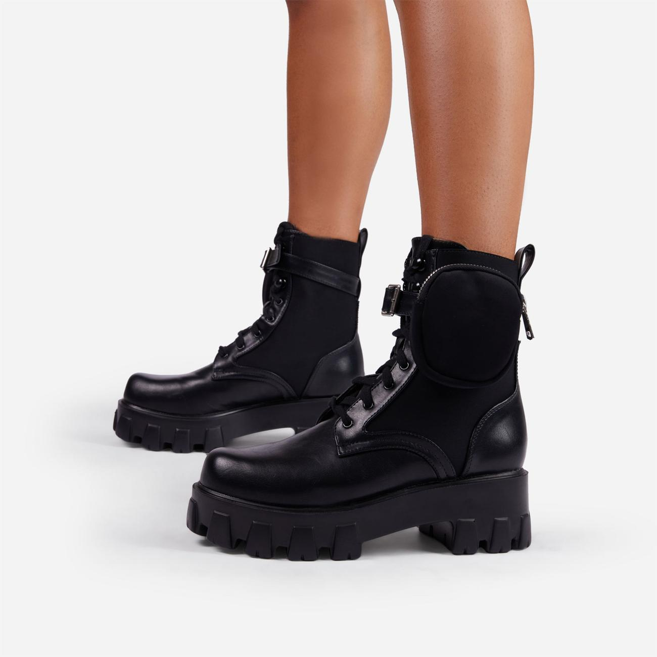 Flame Pocket Detail Lace Up Chunky Sole Ankle Biker Boot In Black Faux Leather Image 3