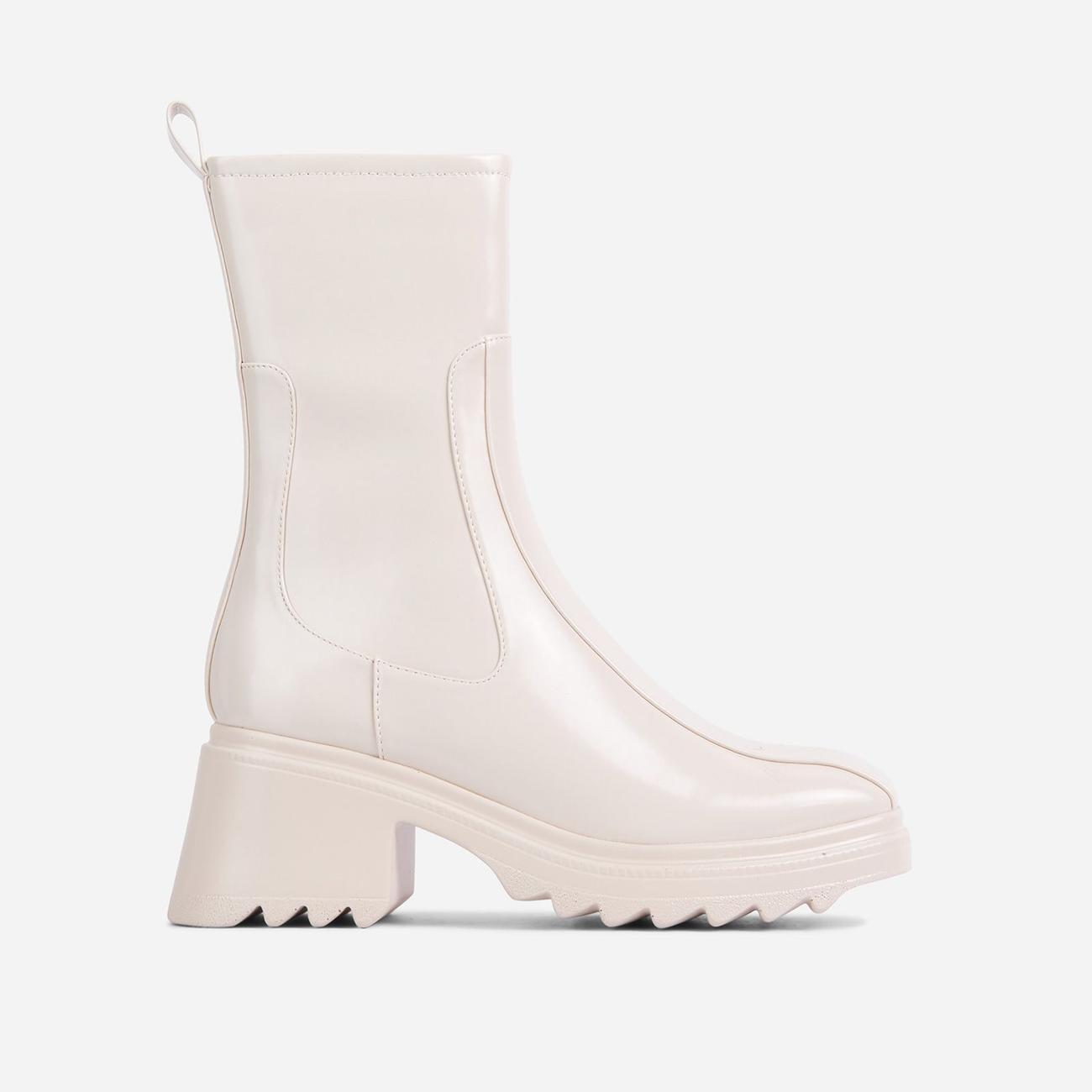 Rain-On-Me Block Heel Ankle Wellington Boot In Cream Image 1