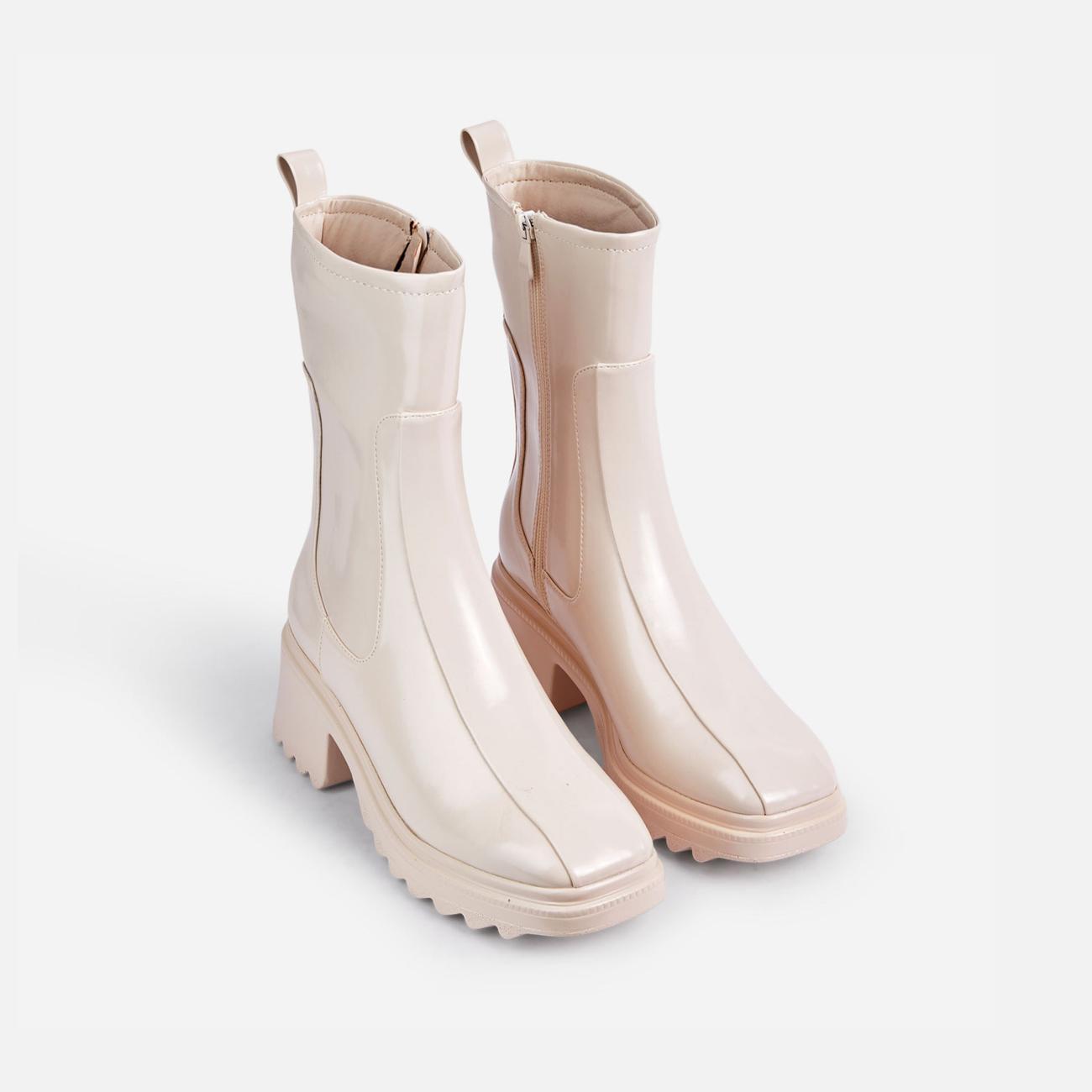 Rain-On-Me Block Heel Ankle Wellington Boot In Cream Image 2