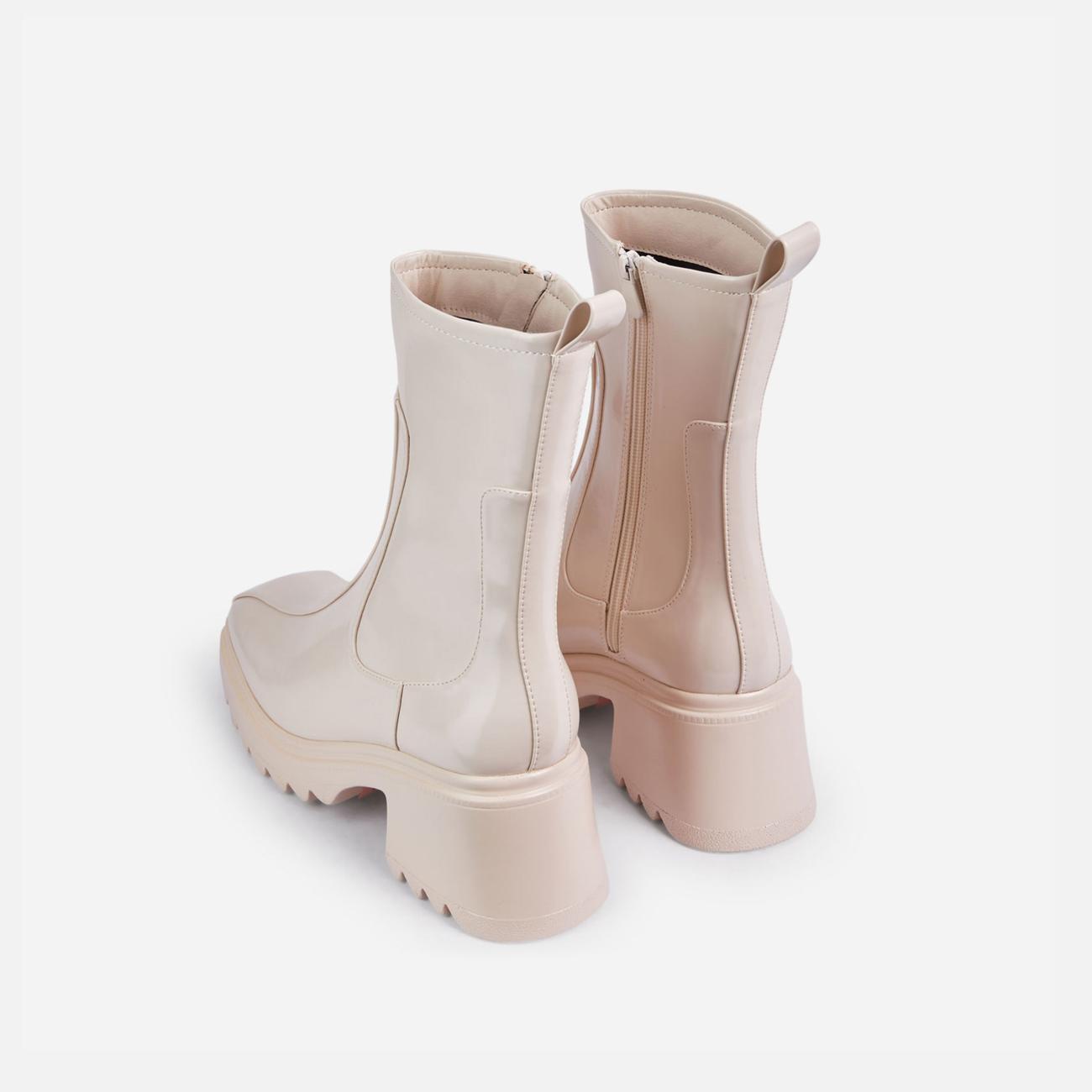 Rain-On-Me Block Heel Ankle Wellington Boot In Cream Image 3