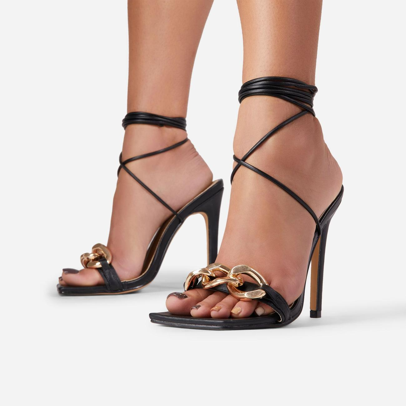 Ring-Leader Chunky Chain Detail Lace Up Square Toe Heel In Black Faux Leather Image 2