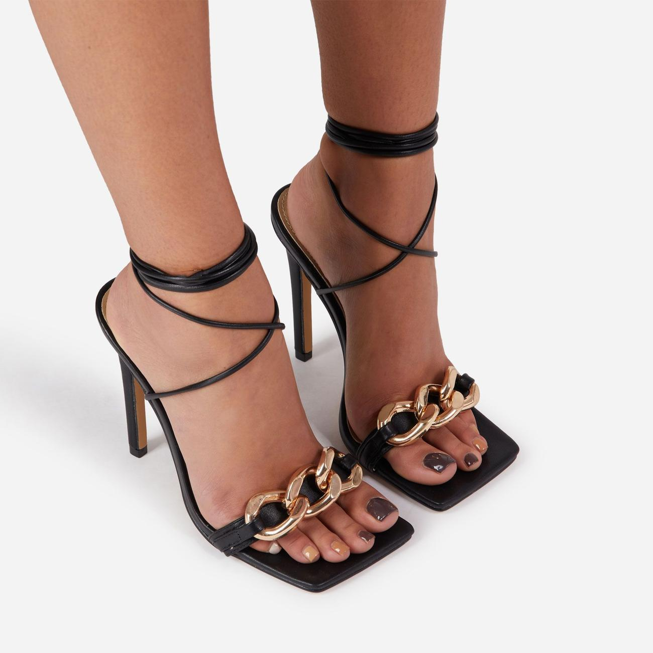 Ring-Leader Chunky Chain Detail Lace Up Square Toe Heel In Black Faux Leather Image 4