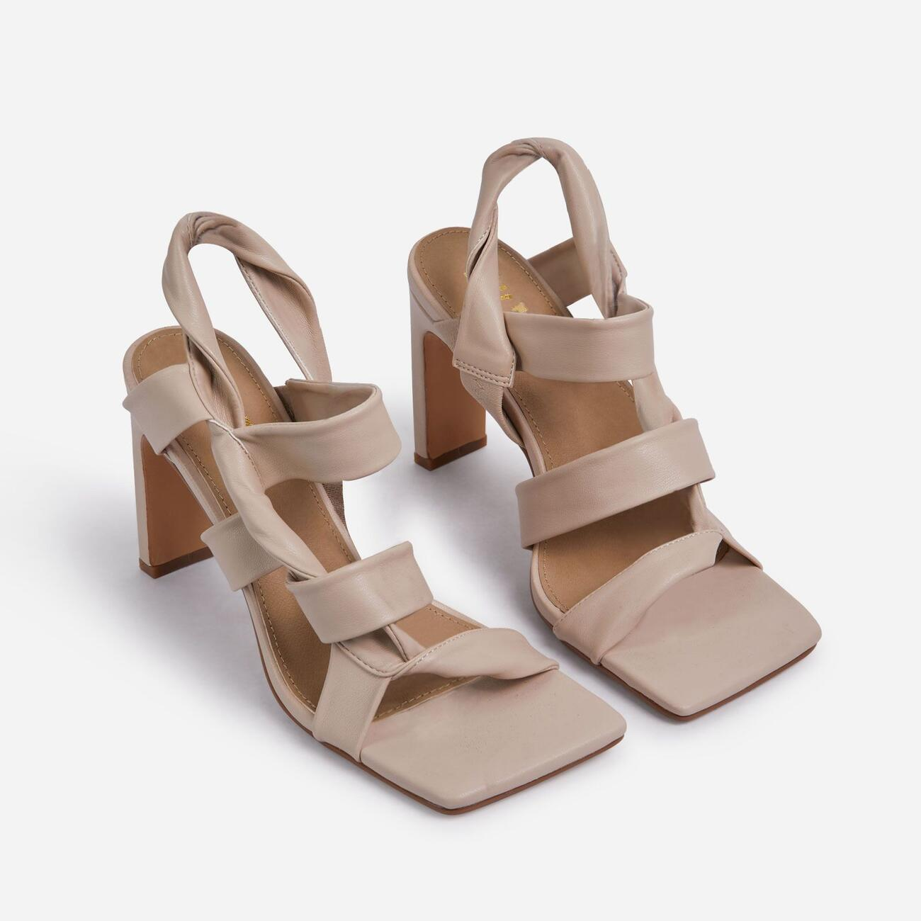 Ripple Strappy Caged Square Toe Heel Mule In Nude Faux Leather Image 2