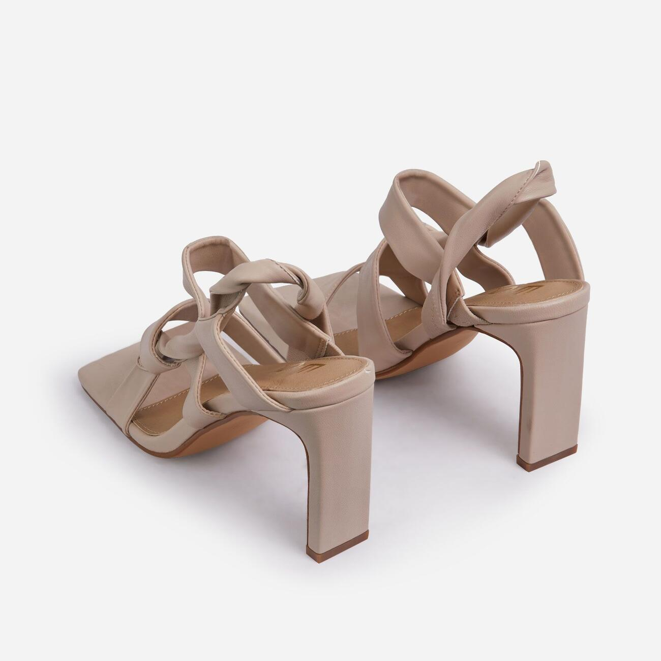 Ripple Strappy Caged Square Toe Heel Mule In Nude Faux Leather Image 3