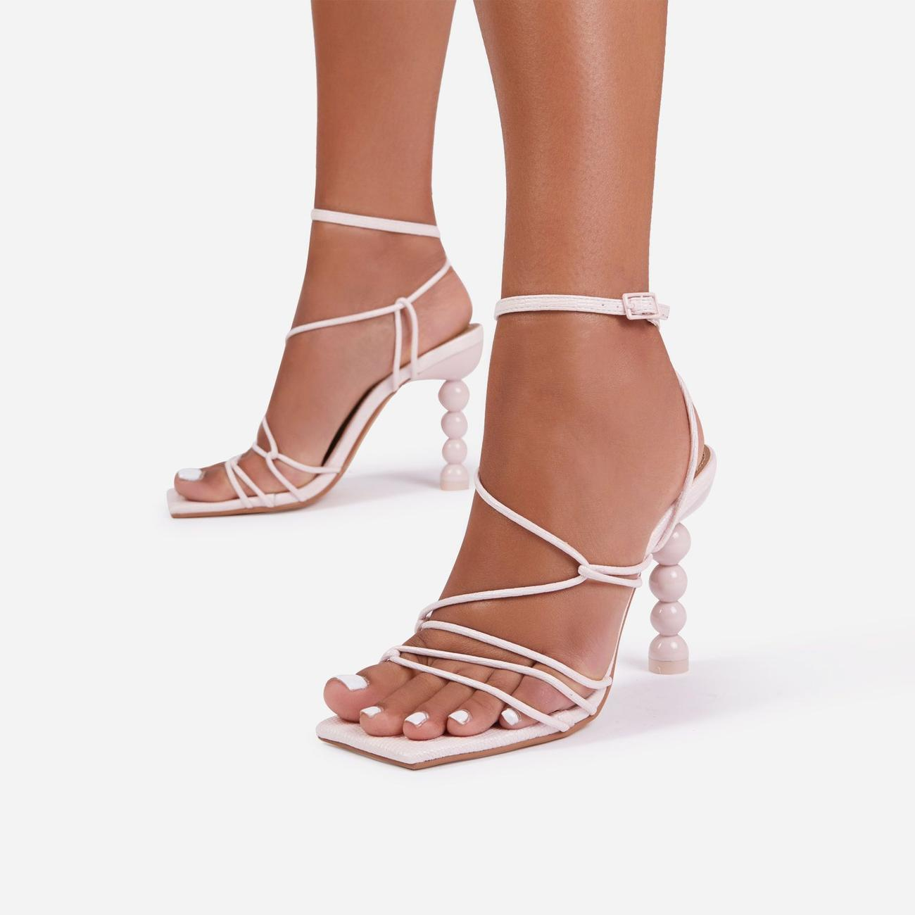 Mulberry Strappy Square Toe Sculptured Heel In Pink Faux Leather Image 1