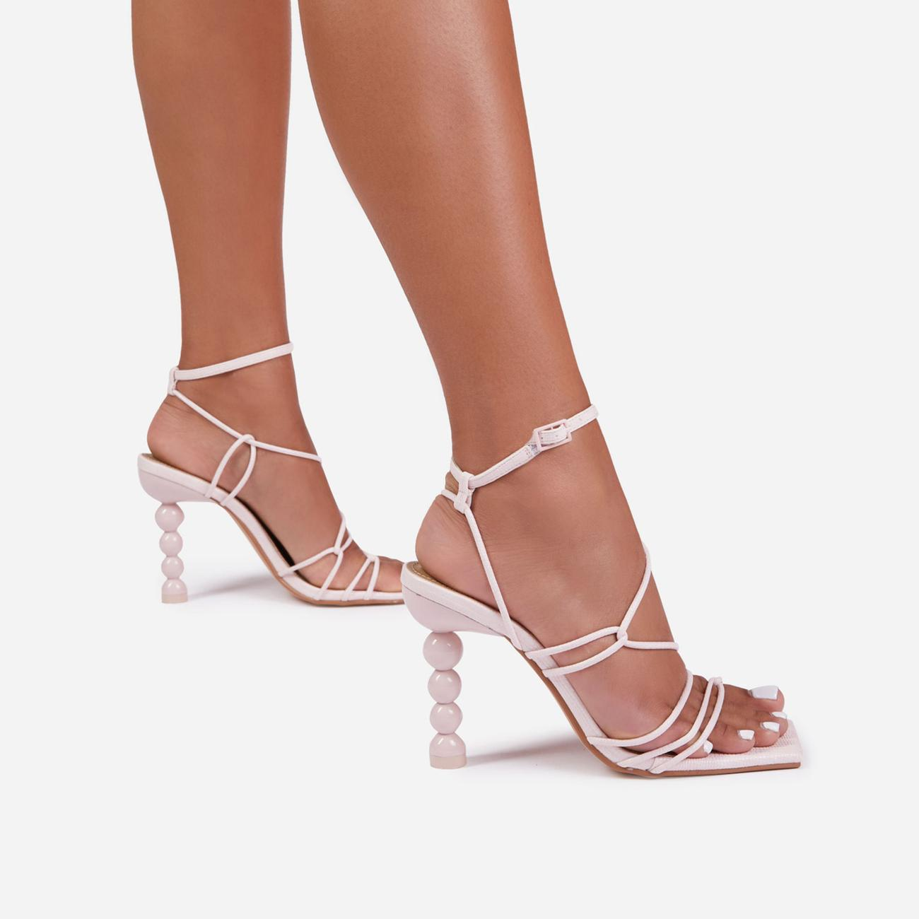 Mulberry Strappy Square Toe Sculptured Heel In Pink Faux Leather Image 2