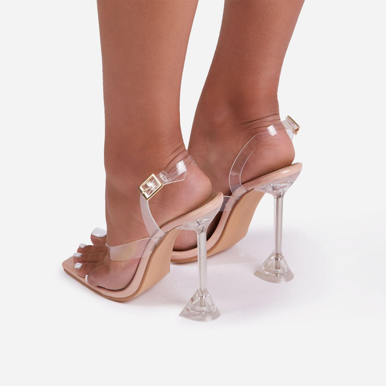 Come Thru Sling Back Square Toe Thong Clear Perspex