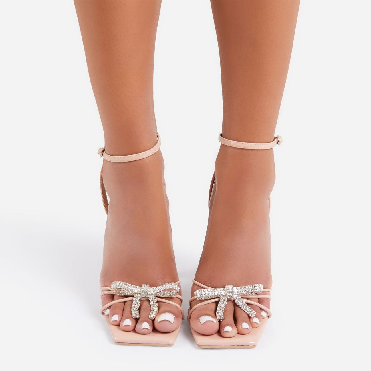 Razz Diamante Bow Detail Square Toe Clear Perspex Pyramid Heel In Nude Patent Image 3