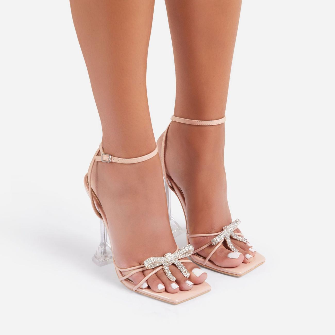Razz Diamante Bow Detail Square Toe Clear Perspex Pyramid Heel In Nude Patent Image 4