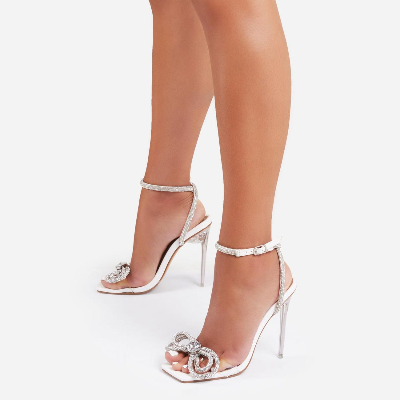Sugar-Coated Diamante Bow Detail Square Toe Clear Perspex Heel In White Faux Leather Image 1
