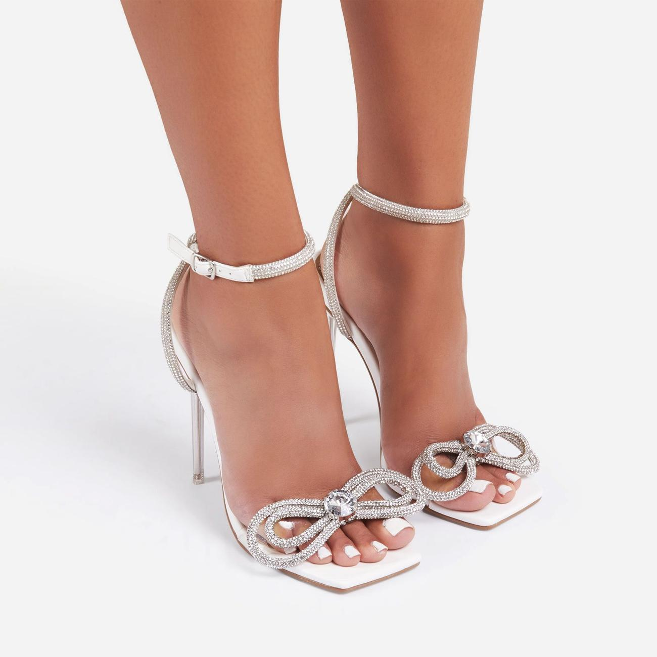 Sugar-Coated Diamante Bow Detail Square Toe Clear Perspex Heel In White Faux Leather Image 3