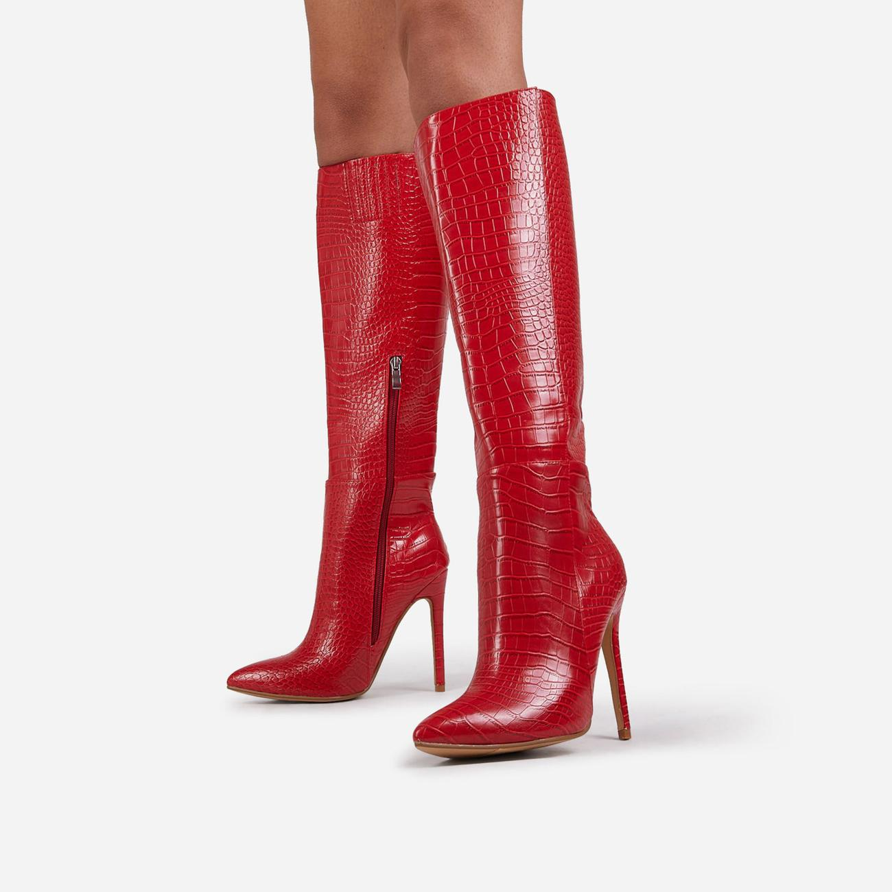 Rose Knee High Long Boot In Red Croc Print Faux Leather Image 2