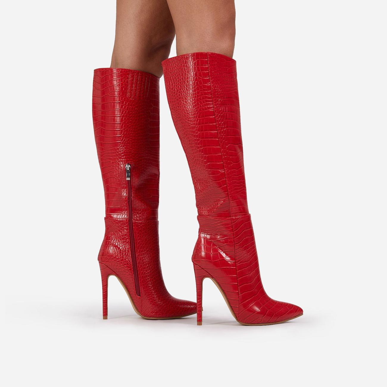 Rose Knee High Long Boot In Red Croc Print Faux Leather Image 3