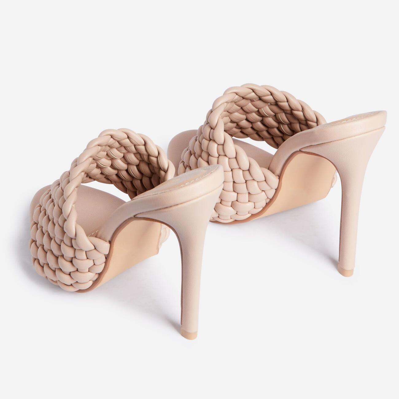 Twisted Woven Detail Peep Toe Heel Mule In Nude Faux Leather Image 3